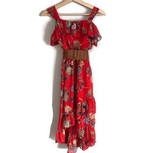 Speechless ruffled red and blue floral dress